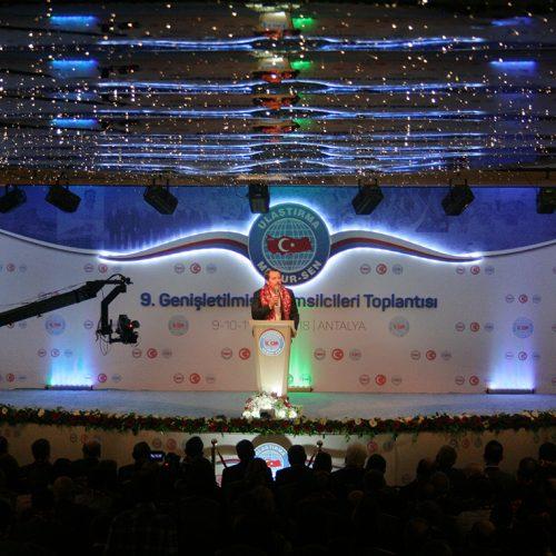 Ulaştırma Memur Sen 9. Genişletilmiş İl Temsilcileri Toplantısı Antalya Sahne Tasarımı Ali Yalçın Konuşma